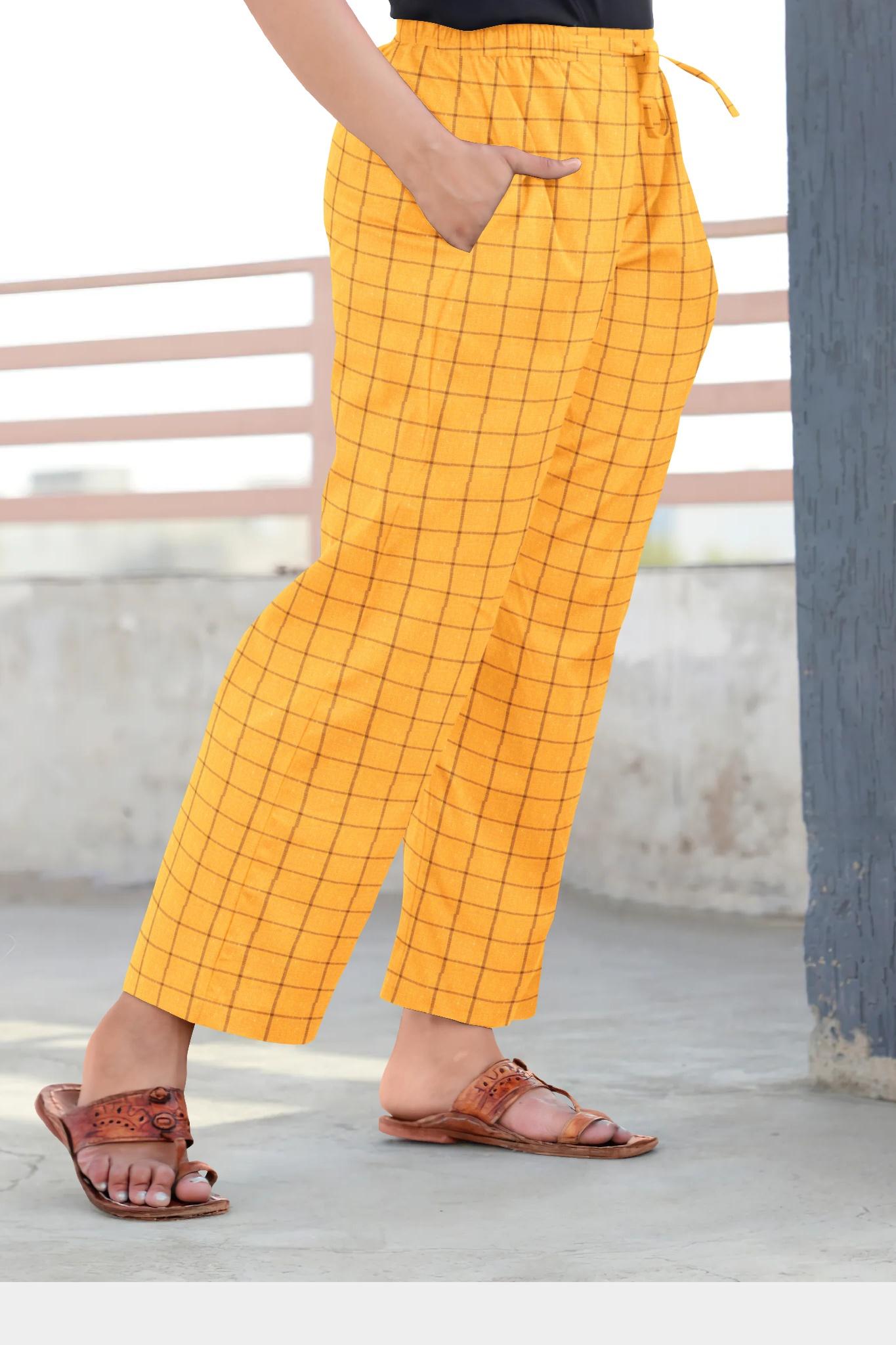 Yellow Black Cotton Regular Check Pant-35321