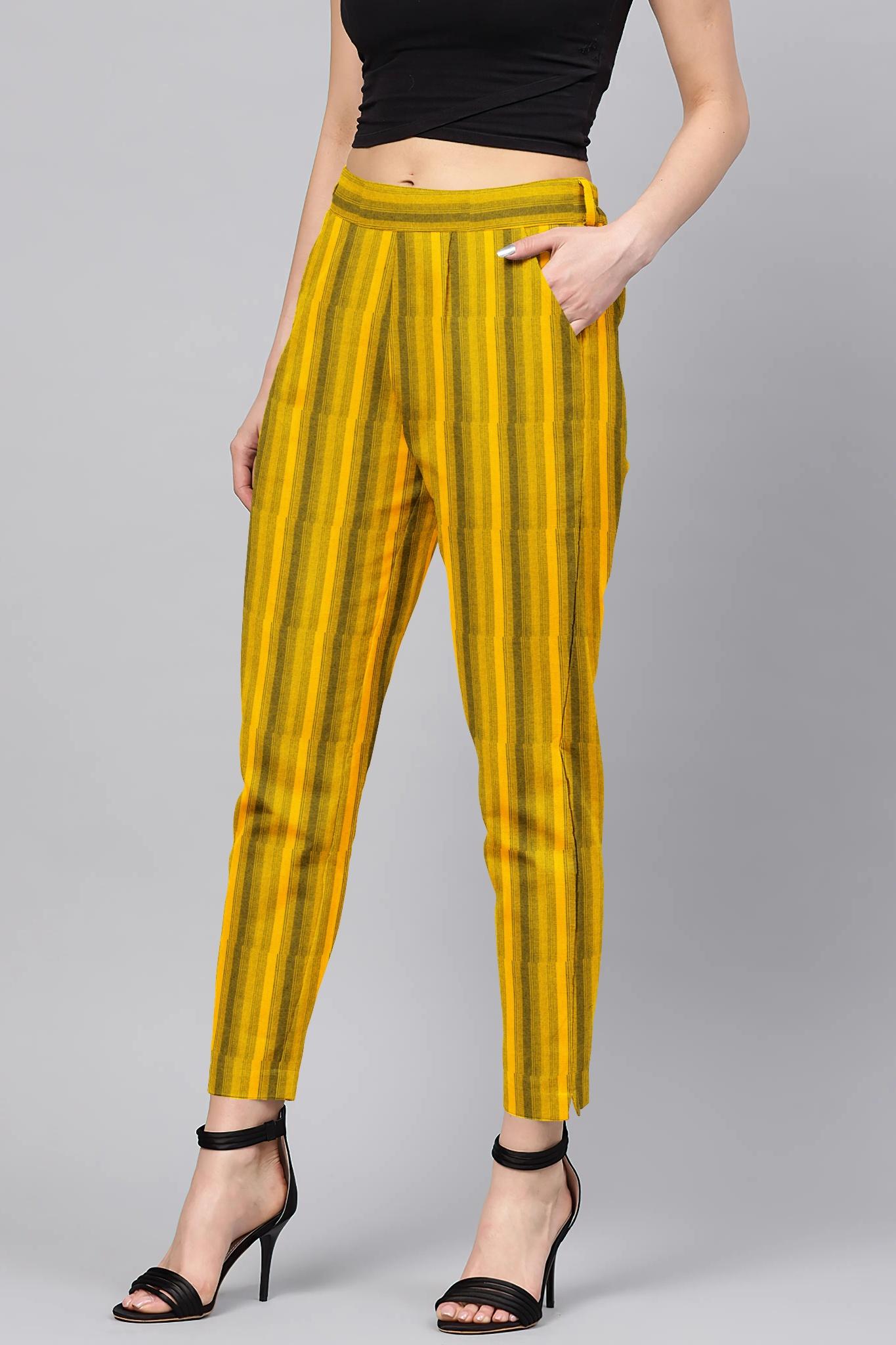 Yellow Black Cotton Stripe Regular Fit Solid Trouser-36076