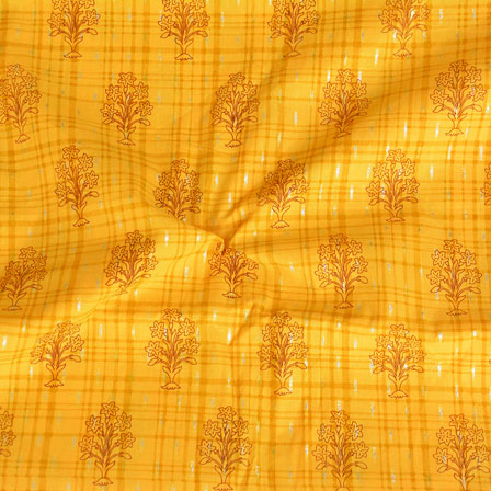 Yellow Black Foil Print Cotton Fabric-15123