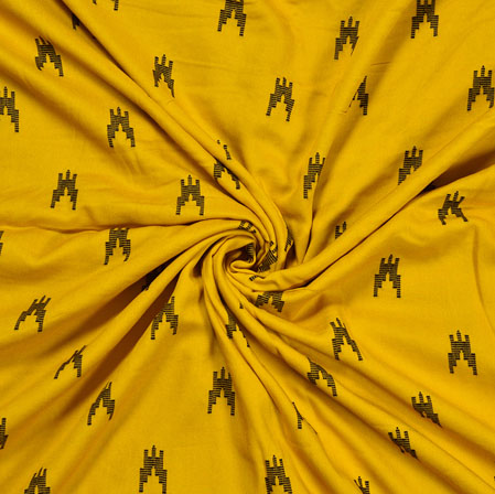 Yellow Black Ikat Rayon Print Jacquard Fabric-28267