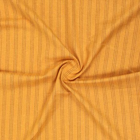 Yellow Black Striped Handloom Cotton Fabric-40710