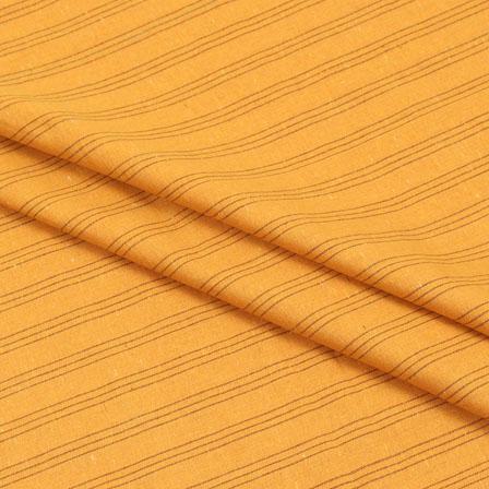 Cotton Shirt (2.25 Meter)-Yellow Black Striped Handloom-140710