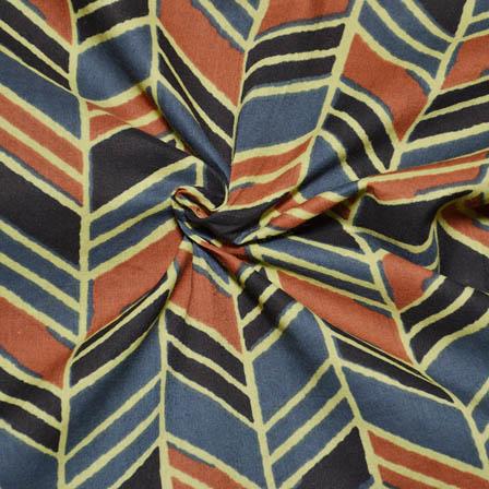 Yellow-Black and Blue Zig Zag Pattern Ajrakh Block Cotton Fabric-14020