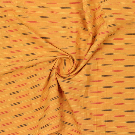 Yellow Black and Red Ikat Cotton Fabric-12347