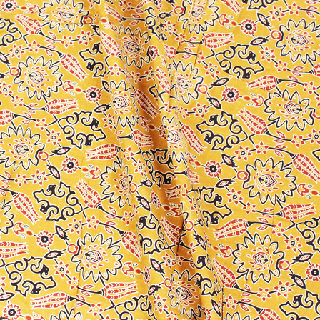 Yellow-Black and Red Unique Pattern Block Print Cotton Fabric-14308