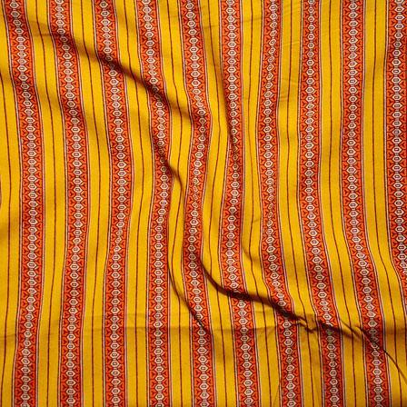 Yellow Orange Block Print Cotton Fabric-14617