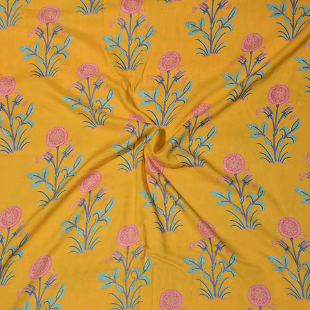 Yellow Blue Block Print Cotton Fabric-14726
