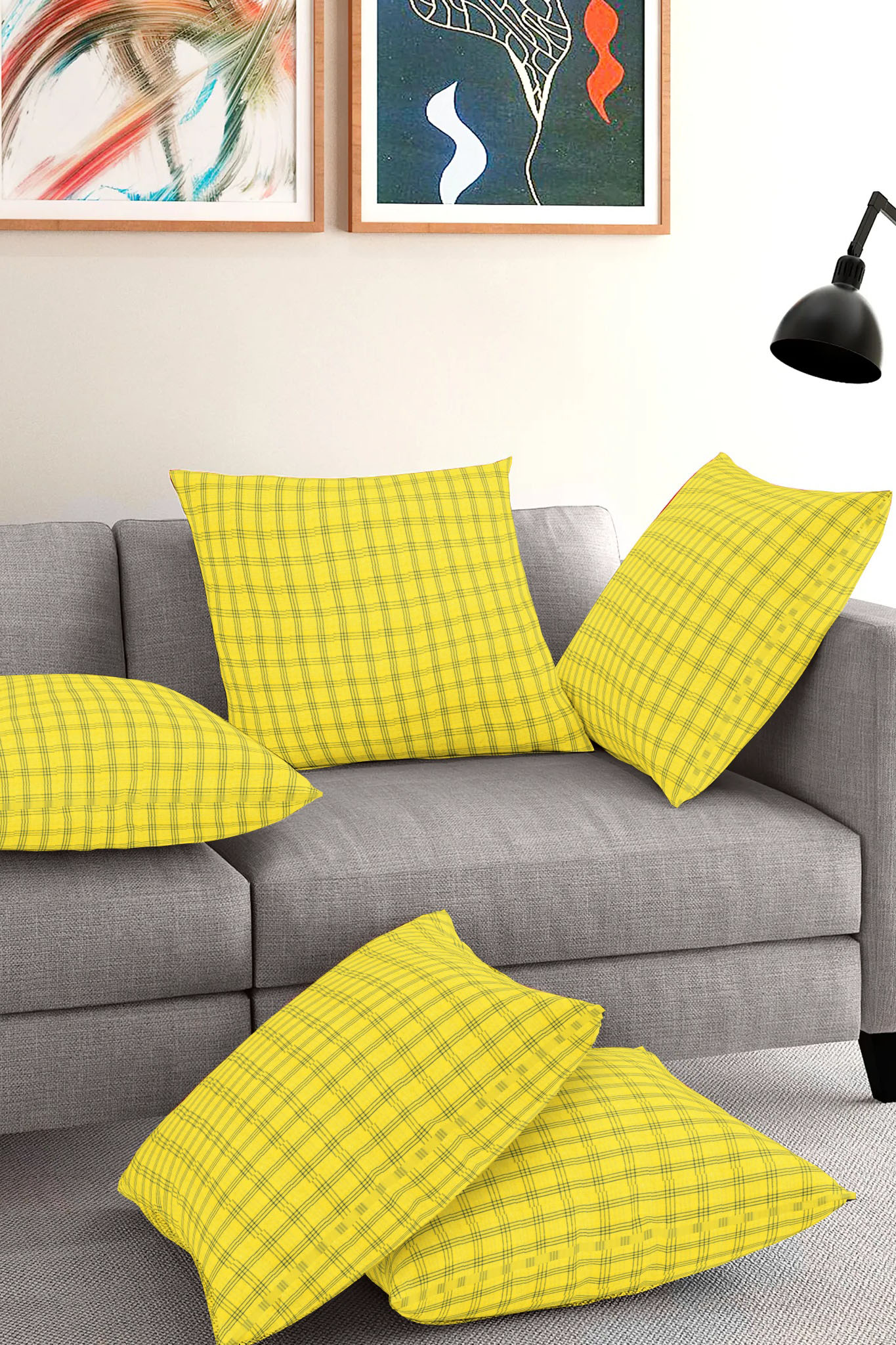 Set of 5-Yellow Blue Cotton Cushion Cover-35389-16x16 Inches