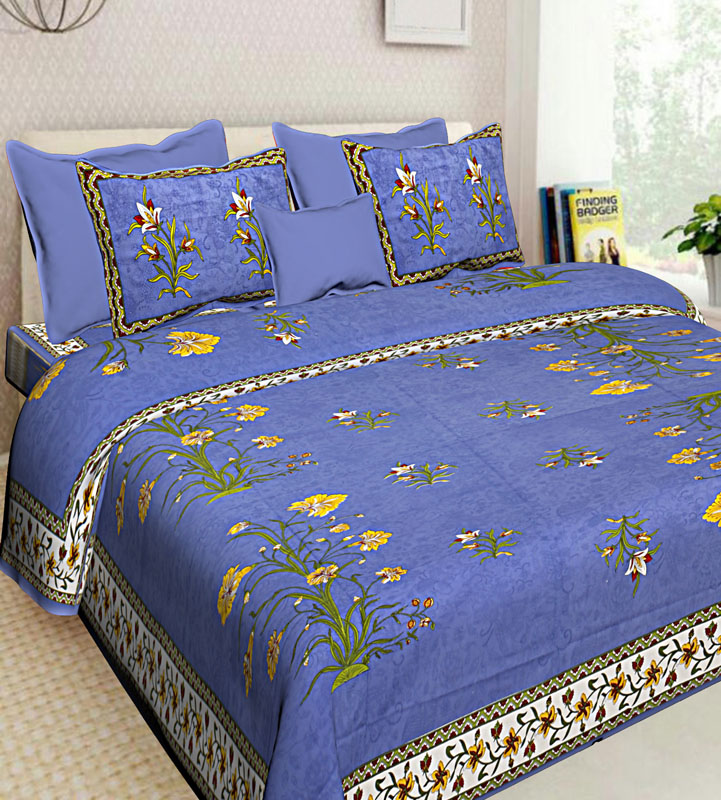 Yellow Blue Cotton Jaipuri Bedsheet-643