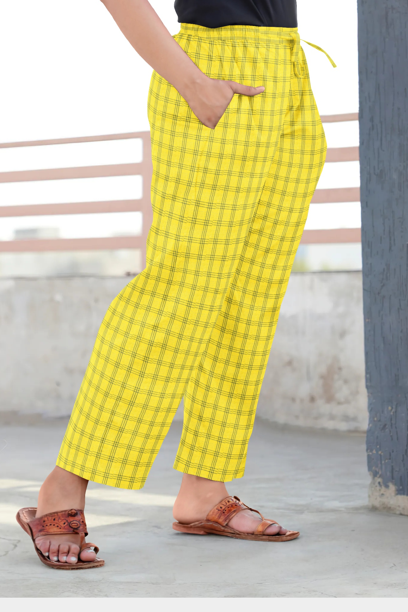 Yellow Blue Cotton Regular Check Pant-35310