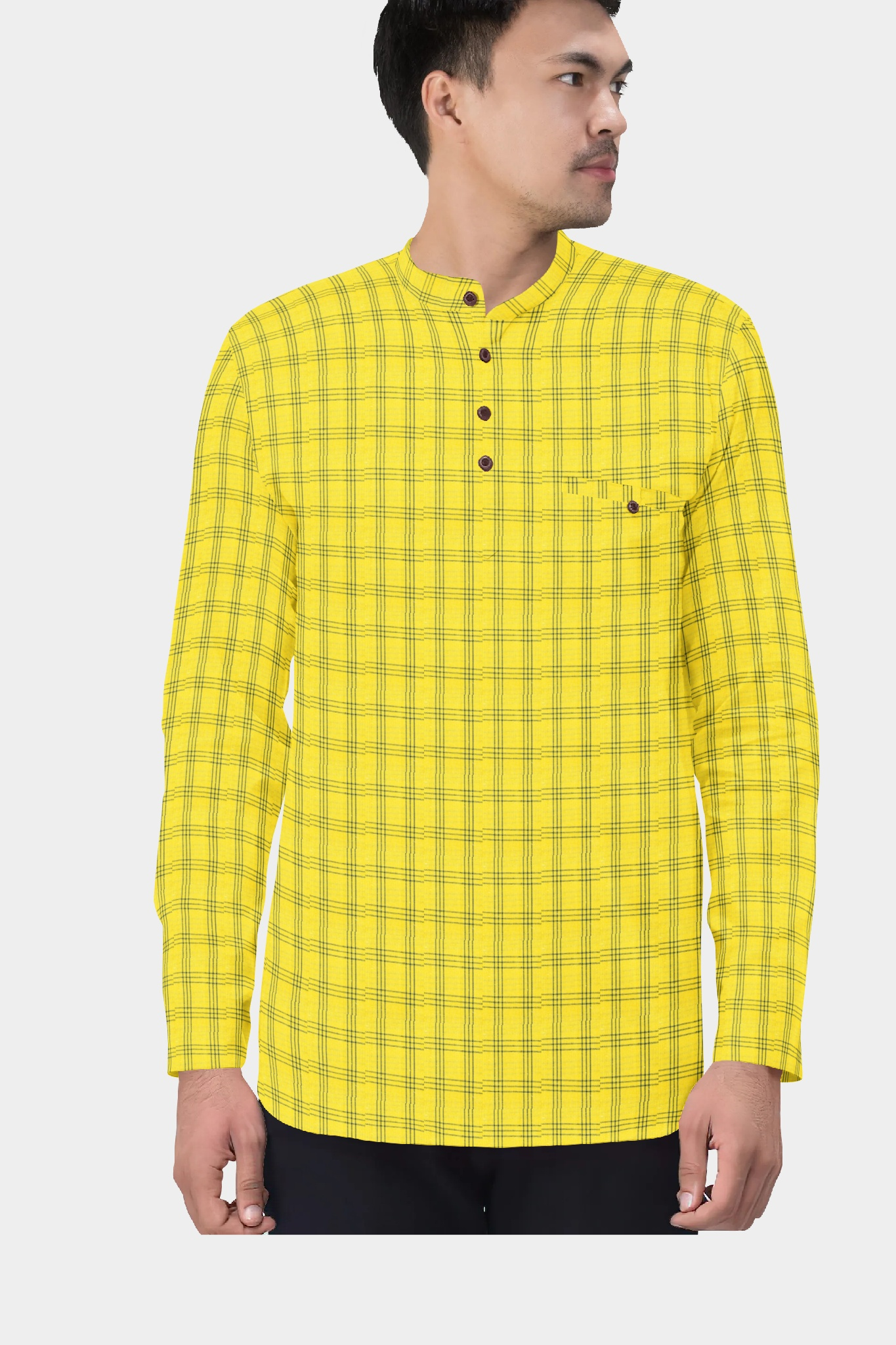 Yellow Blue Cotton Check Short Kurta-35433