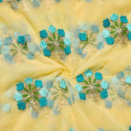 Yellow Blue Net Embroidery Silk Fabric-18731