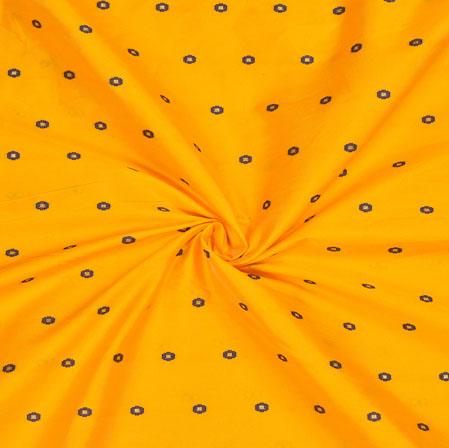 Yellow Blue Polka Zari Taffeta Silk Fabric-12667