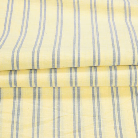 Yellow Blue Stripe Handloom Cotton Fabric-41005