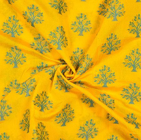 Yellow Blue Tree Brocade Banarasi Silk Fabric-12840