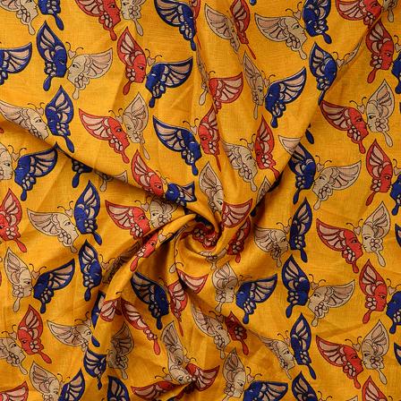 Yellow-Blue and Cream Kalamkari Manipuri Silk Fabric-16350