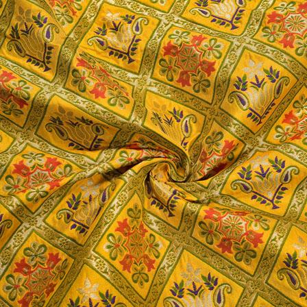 Yellow Blue and Green Floral Banarasi Silk Fabric-12166
