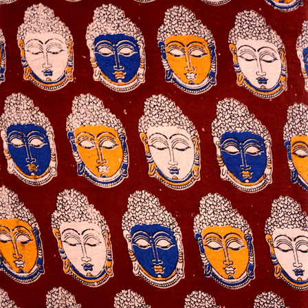 Yellow-Blue and Maroon Buddha Pattern Kalamkari Fabric-5514