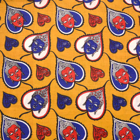Yellow-Blue and Orange Buddha Kalamkari Cotton Fabric-5588
