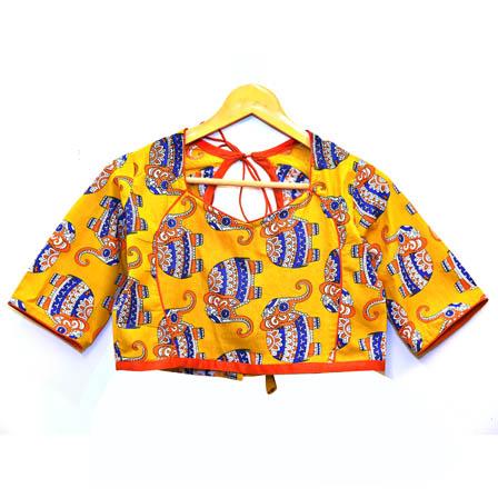 Yellow-Blue and Orange Elephant Kalamkari Print Cotton Blouse-30041