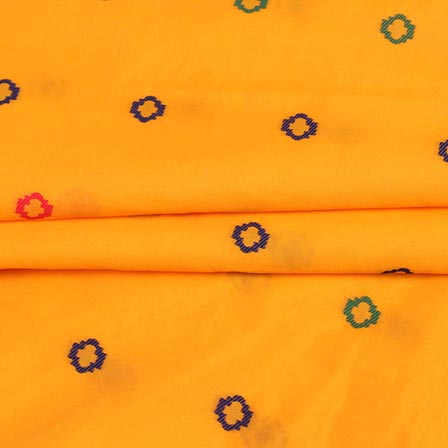 Yellow Blue and Red Polka Digital Banarasi Silk Fabric-9220