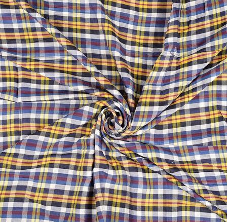 Yellow-Blue and White Checks Rayon Shirt Fabric-40242