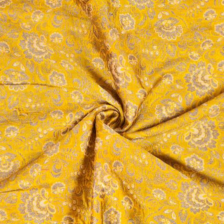 Yellow Brown Brocade Silk Floral Fabric-12974