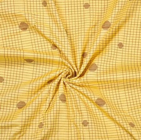 Yellow Brown Check Cotton Flex Foil Fabric-28233