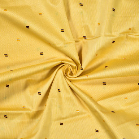 Yellow Brown Polka Jam Print Fabric-28390