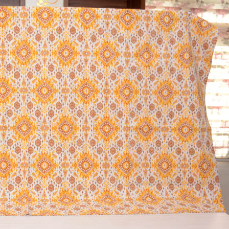 Yellow-Brown and Cream Indian Handmade Kantha Quilt-4332