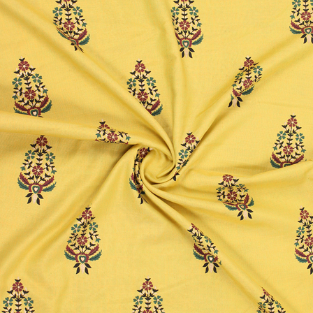 Yellow-Brown and Golden Floral Jam Cotton Silk Fabric -75176
