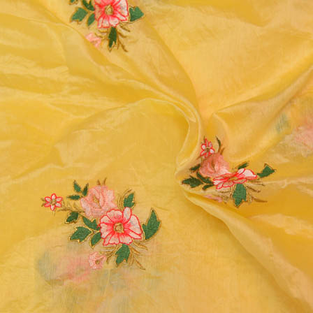 Yellow Chanderi Silk Base Fabric With Pink and Green Flower Embroidery-60004