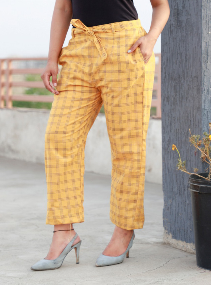 Yellow Cotton Checks Women Pants with Loose Belt-33223