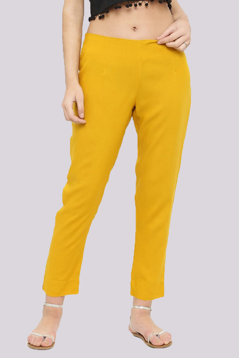 Yellow Cotton Flex Pant with Side Chain and Pocket-33399