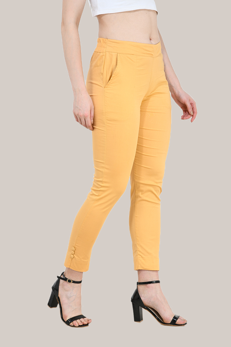Yellow Cotton Lycra Trippy Pant-33517