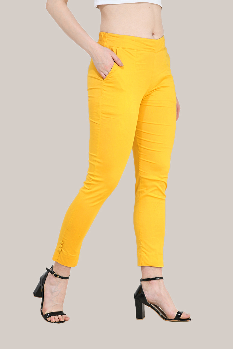 Yellow Cotton Lycra Trippy Pant-33518