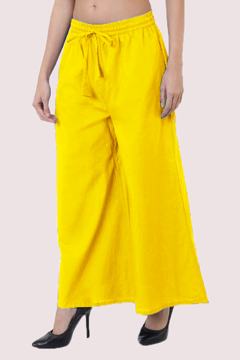 Yellow Cotton Solid Women Palazzo-33303