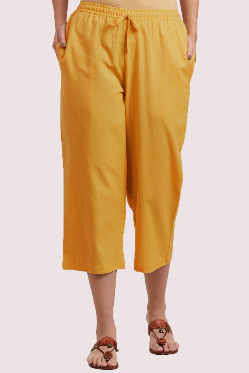 Yellow Cotton Solid Women Culottes-33319