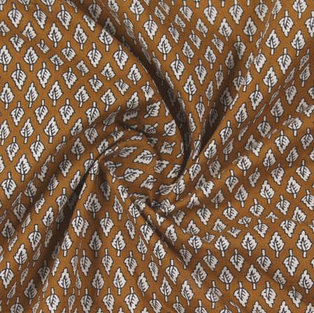 Yellow Cream Block Print Cotton Fabric-16187