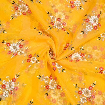 Yellow Cream Flower Organza Embroidery Fabric-22248