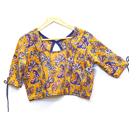 Yellow-Cream and Blue Butterfly Kalamkari Print Cotton Blouse-30075