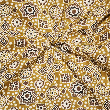 Yellow-Cream and Brown Floral Design Ajrakh Cotton Fabric-14076