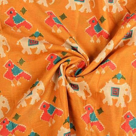 Yellow-Cream and Pink Elephant Kalamkari Manipuri Silk Fabric-16283