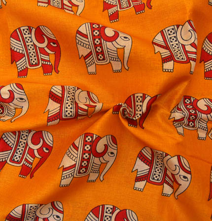 Yellow-Cream and Red Elephant Design Kalamkari Manipuri Silk-16034