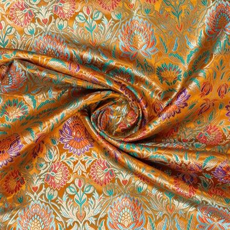 Yellow Cyan Kinkhab Banarasi Silk Fabric-9335