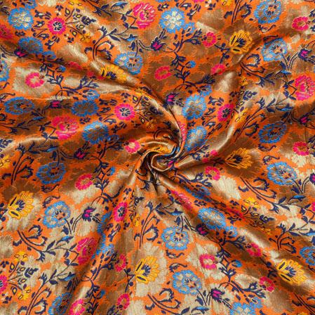 Yellow Cyan and Pink Kinkhab Banarasi Brocade Silk Fabric-12824
