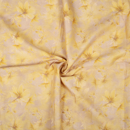 Yellow Flower Design Jam Cotton Silk Fabric-75084