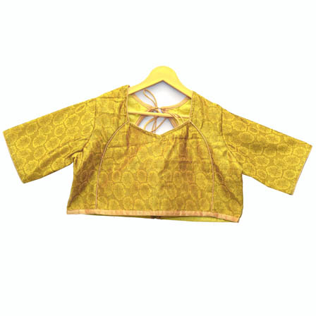 Yellow Flower Silk Brocade Blouse-30109