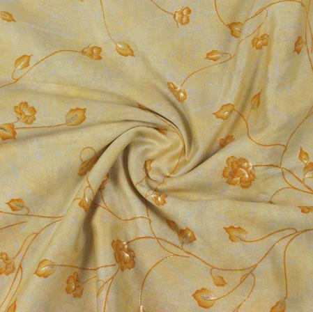 Yellow Golden Block Print Cotton Fabric-16208