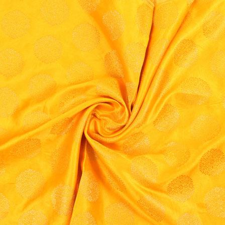 Yellow Golden Brocade Satin Silk Fabric-9049